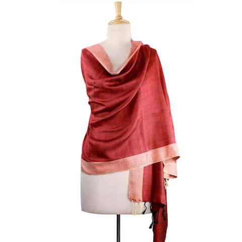 Handmade Silk 'Bhagalpur Sunshine' Shawl (India)