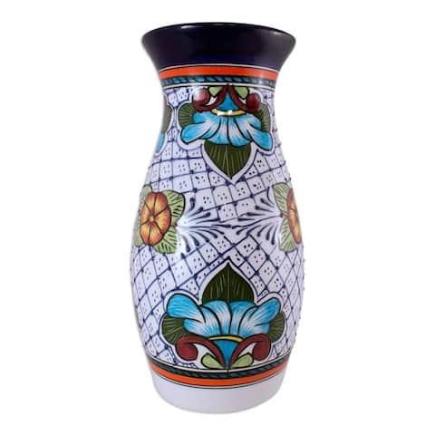 Handmade Talavera Ceramic 'Guanajuato Flora' Vase (Mexico)
