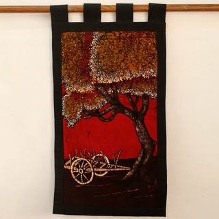 Handcrafted Cotton Batik 'Autumn Village Scene' Wall Hanging (India)