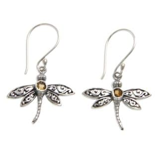 Handmade Sterling Silver 'Enchanted Dragonfly' Citrine Earrings (Indonesia)