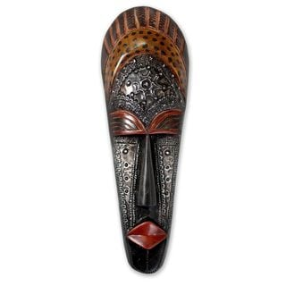 Handcrafted Sese Wood 'Queen Aura Poka' Mask (Ghana)