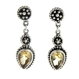 Sterling Silver 'Balinese Jackfruit' Citrine Earrings (Indonesia)