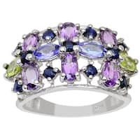 Orchid Jewelry 2.94ct Amethyst, Tanzanite, Peridot and Sapphire Sterling Silver Ring
