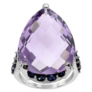 Orchid Jewelry 28.00ct Pink Amethyst and Sapphire Sterling Silver Ring