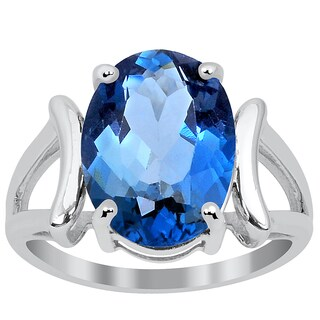 Orchid Jewelry 7.00 Carat Blue Topaz Sterling Silver Stylish Ring