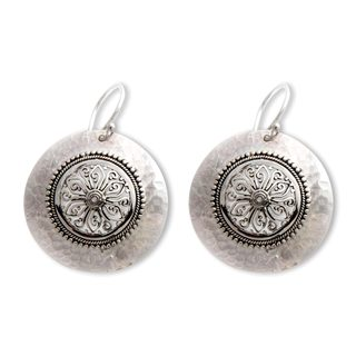 Handcrafted Sterling Silver 'Starlight Bucklers' Earrings (Indonesia)