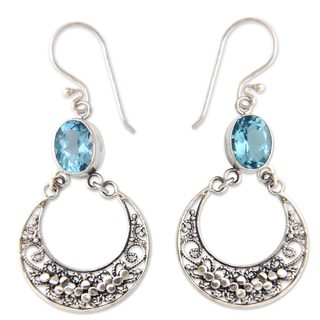 Sterling Silver 'Sumatra Moons' Blue Topaz Earrings (Indonesia)