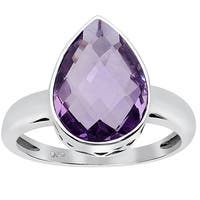 Orchid Jewelry 4.30ct Amethyst Sterling Silver Ring