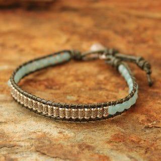 Silver 'Hill Tribe Memory' Amazonite Quartz Bracelet (Thailand)