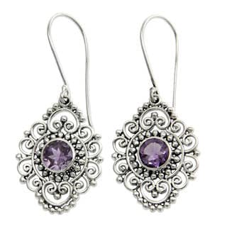 Sterling Silver 'Royal Medallion' Amethyst Earrings (Indonesia)