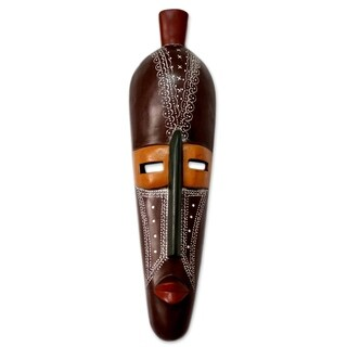 Handcrafted Sese Wood 'Organize Yourself' Mask (Ghana)