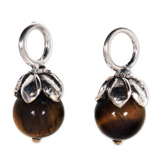 Sterling Silver 'Budding Luck' Tiger's Eye Earring Charms (Indonesia)