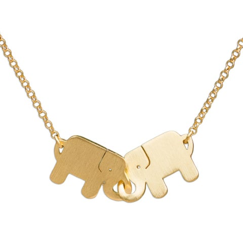 Handmade Gold Overlay 'Elephant Friendship' Necklace (Thailand)