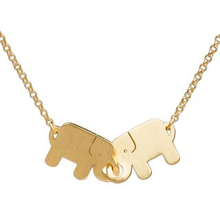 Handcrafted Gold Overlay 'Elephant Friendship' Necklace (Thailand)