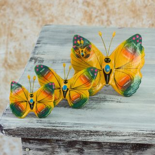Handmade Set of 3 Ceramic 'Totonicapan Butterflies' Sculptures (Guatemala)