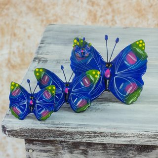 Handmade Set of 3 Ceramic 'Antigua Butterflies' Sculptures (Guatemala)