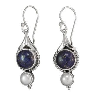 Handmade Sterling Silver 'Haryana Harmony' Pearl Lapis Earrings (5 mm) (India)