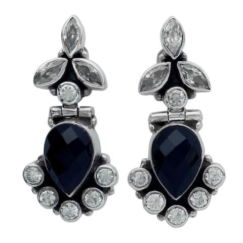 Handmade Sterling Silver 'Midnight Dewdrops' Onyx Quartz Earrings (India)