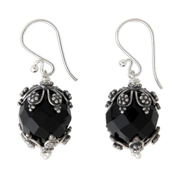 Handmade Sterling Silver X27 Bali Moon Onyx Earrings Indonesia