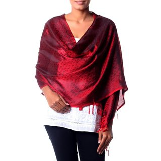 Handcrafted Silk 'Ruby Sunset' Varanasi Shawl (India)