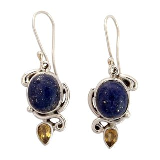 Sterling Silver 'Royal Charm' Lapis Citrine Earrings (India)