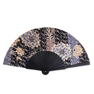 Handmade Silk Batik 'Blue Poppies' Fan (Indonesia)