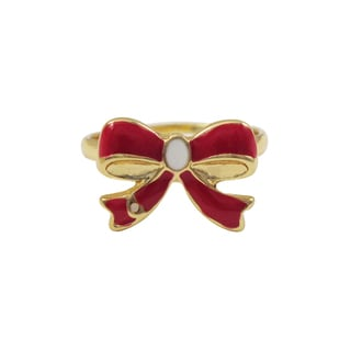 Luxiro Gold Finish Red Enamel Bow Children's Ring