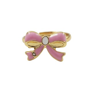 Luxiro Gold Finish Light Pink Enamel Bow Children's Ring