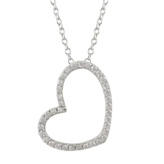 Luxiro Sterling Silver Cubic Zirconia Open Heart Pendant Necklace