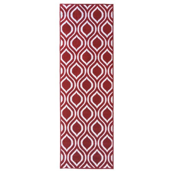 Berrnour Home Moroccan Red/Grey/Green/Orange/Brown Polypropylene Trellis Design Non-skid Runner Rug - 1'8 x 4'11