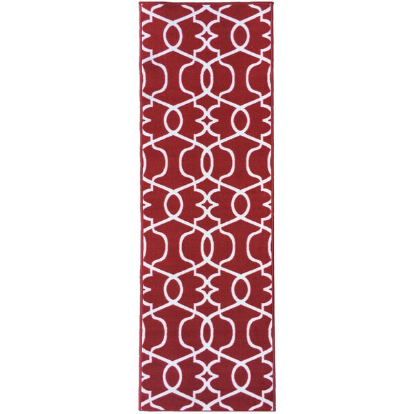 Rug Runner Non Slip: Berrnour Home Rose Collection Moroccan Trellis Design