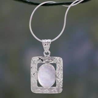 Handmade Sterling Silver 'Hypnotic Intuition' Moonstone Necklace (India)