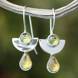 Sterling Silver 'Dreams' Amber Peridot Earrings (Mexico)