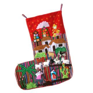 Handcrafted Applique 'No Room at the Inn' Christmas Stocking (Peru)
