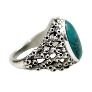 Men's Sterling Silver 'Living Coral' Turquoise Ring (Indonesia)