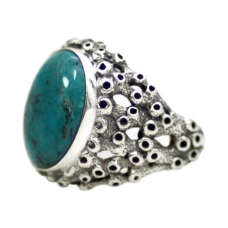 Handmade Men's Sterling Silver 'Living Coral' Turquoise Ring (Indonesia)
