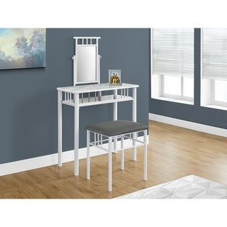 monarch metal with white finish 2piece vanity table set