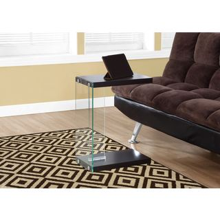 Monarch Cappuccino MDF, Veneer, and Tempered Glass Accent Table