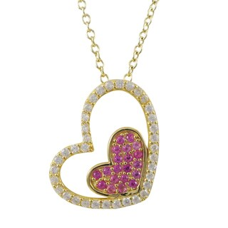 Luxiro Gold Finish Sterling Silver Lab-created Ruby Heart Pendant Necklace