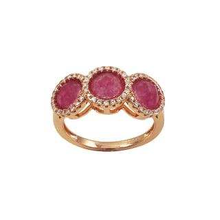 Luxiro Rose Gold Finish Sterling Silver Fuchsia Jade Gemstone Ring