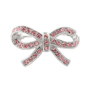 Luxiro Rhodium Finish Pink Crystals Bow Pin Brooch