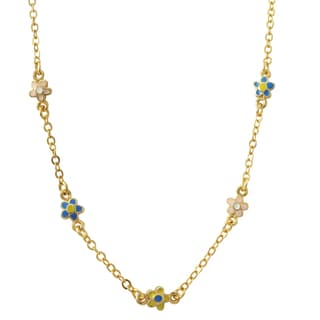 Luxiro Gold Finish Multi-color Enamel Flowers Girls Necklace