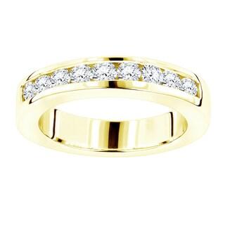 Luxurman 18k Gold 1/2ct TDW Diamond Wedding Band (F-G, VS1-VS2)