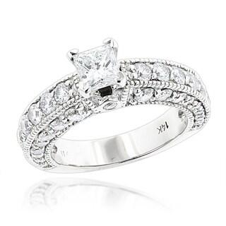 Luxurman 14k Gold 2ct TDW Round and Princess-cut Diamond Engagement Ring