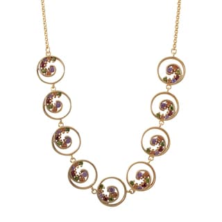 Luxiro Rose Gold Finish Multi-color Cubic Zirconia Spiral Link Necklace