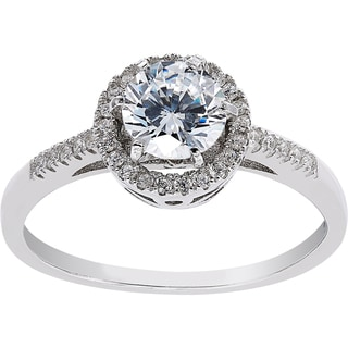 Women's Sterling Silver Cubic Zirconia Solitare Engagement Ring