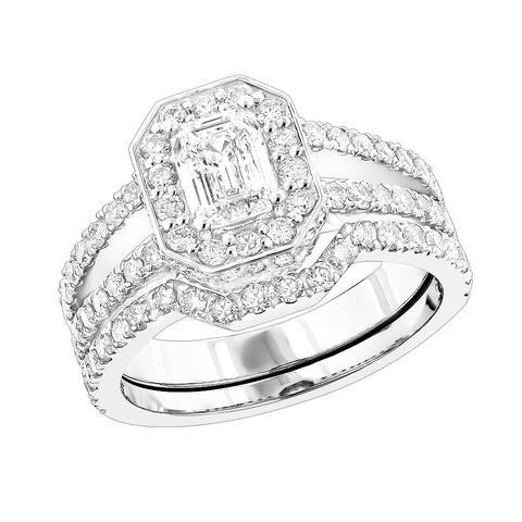Luxurman 18k Gold 2 3/5ct TDW Round and Emerald Diamond Engagement Ring Set