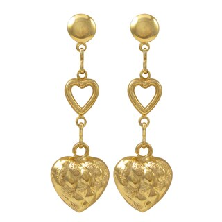 Luxiro Gold Filled Puffy Heart Dangle Earrings