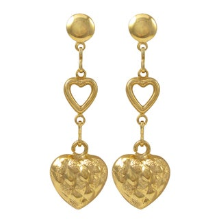 Luxiro Gold Filled Puffy Heart Dangle Earrings - White