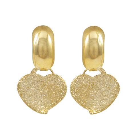 Luxiro Gold Filled Sandblasted Heart Children's Saddleback Earrings
